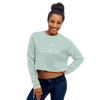Woman wearing cropped crewneck sweatshirt in seamist