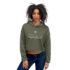 Woman wearing Franklin & Whitman cropped hoodie in Green