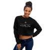 Woman wearing cropped crewneck sweatshirt in black