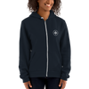 Woman wearing Franklin & Whitman zip up hoodie in Navy