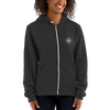 Woman wearing Franklin & Whitman zip up hoodie in Dark Heather
