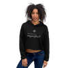 Woman wearing Franklin & Whitman cropped hoodie in Black
