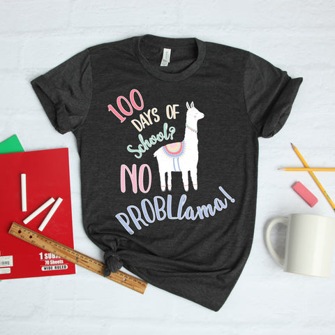 100 Days of School No Probllama Llama Teacher Shirt