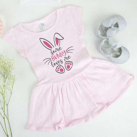Some Bunny Loves Me Easter Baby Rib Dress - Toddler Rib Dress - Easter Baby Bodysuit - Easter Bunny Baby Toddler Outfit