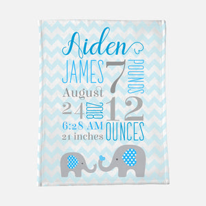 birth stats baby blanket personalized boy blue elephant