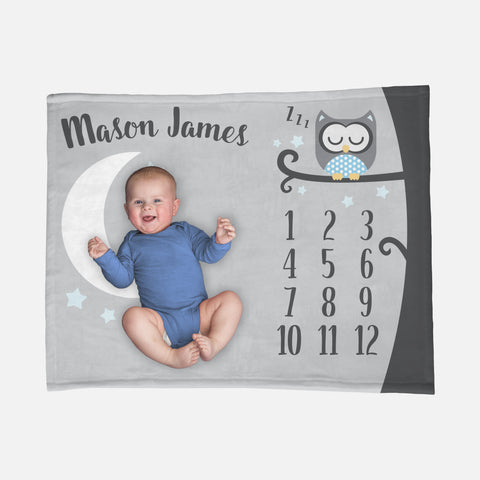 Baby Milestone Blanket | Blue Baby Boy Sleepy Owl Theme