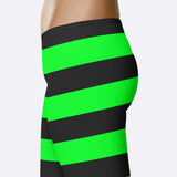 Green Witch Leggings Witch Halloween Costume Halloween Leggings Black Green Stripe Leggings