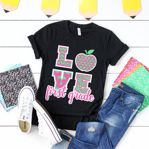 Love First Grade Teacher Shirt First Day of School Teacher Shirt Matching Teacher Team Shirts First Grade Team Shirts First Grade Squad Shirts Gift for Teacher