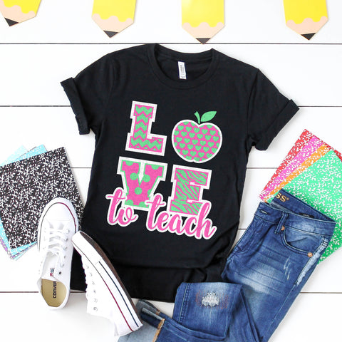 Love to Teach Teacher Shirt Teacher First Day of School Shirt Teacher Gift Cute Teacher Shirt Preppy Teacher Shirt Pink Mint