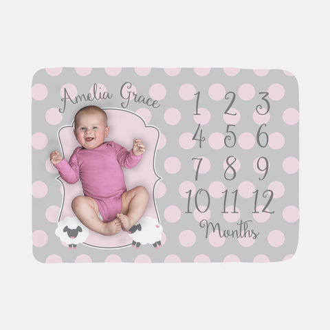 Baby Milestone Blanket | Pink Girl Little Lamb Theme