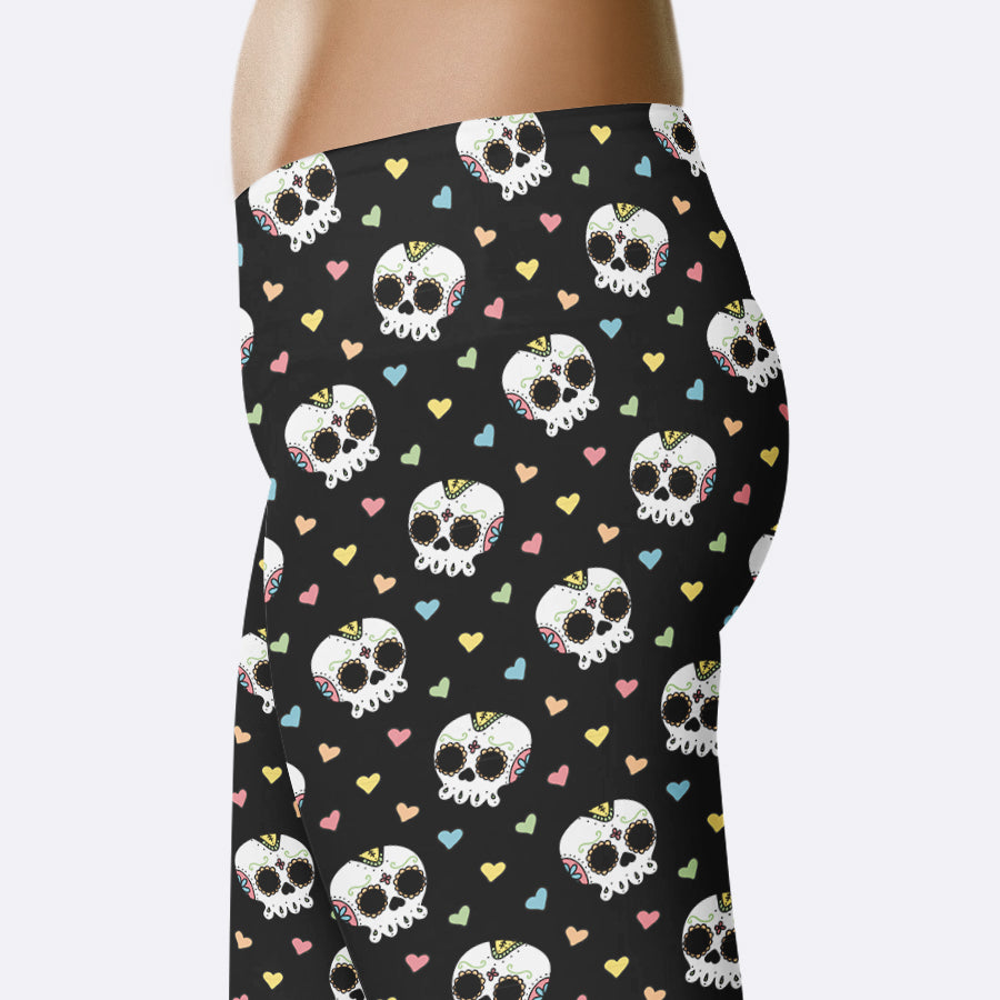 Sugar Skull Leggings Halloween Leggings Day of the Dead Leggings Dia de Los Muertos Leggings Sugar Skulls Leggings Capris Yoga Leggings Shorts