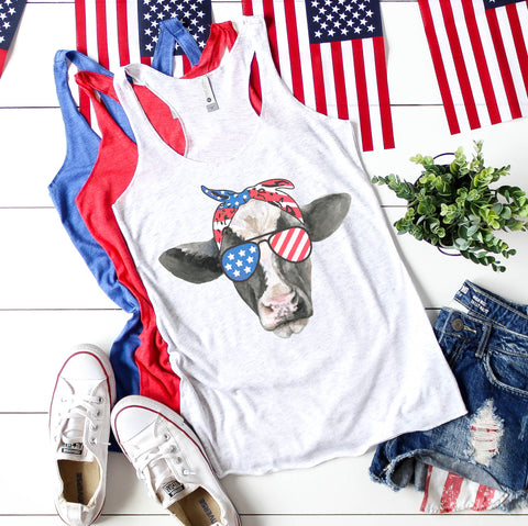 Patriotic USA Cow Tank Top for Women 4th of July Shirt for Women Fourth of July Shirt Memorial Day Shirt 4th of July Tank Top for Women 4th of July Outfit American Flag Heifer Shirt