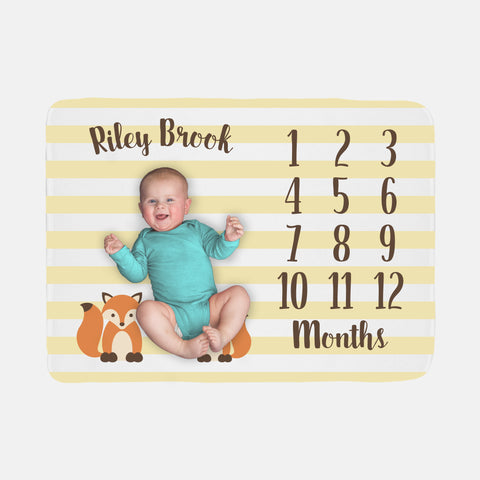 Baby Milestone Blanket | Yellow Gender Neutral Fox Theme