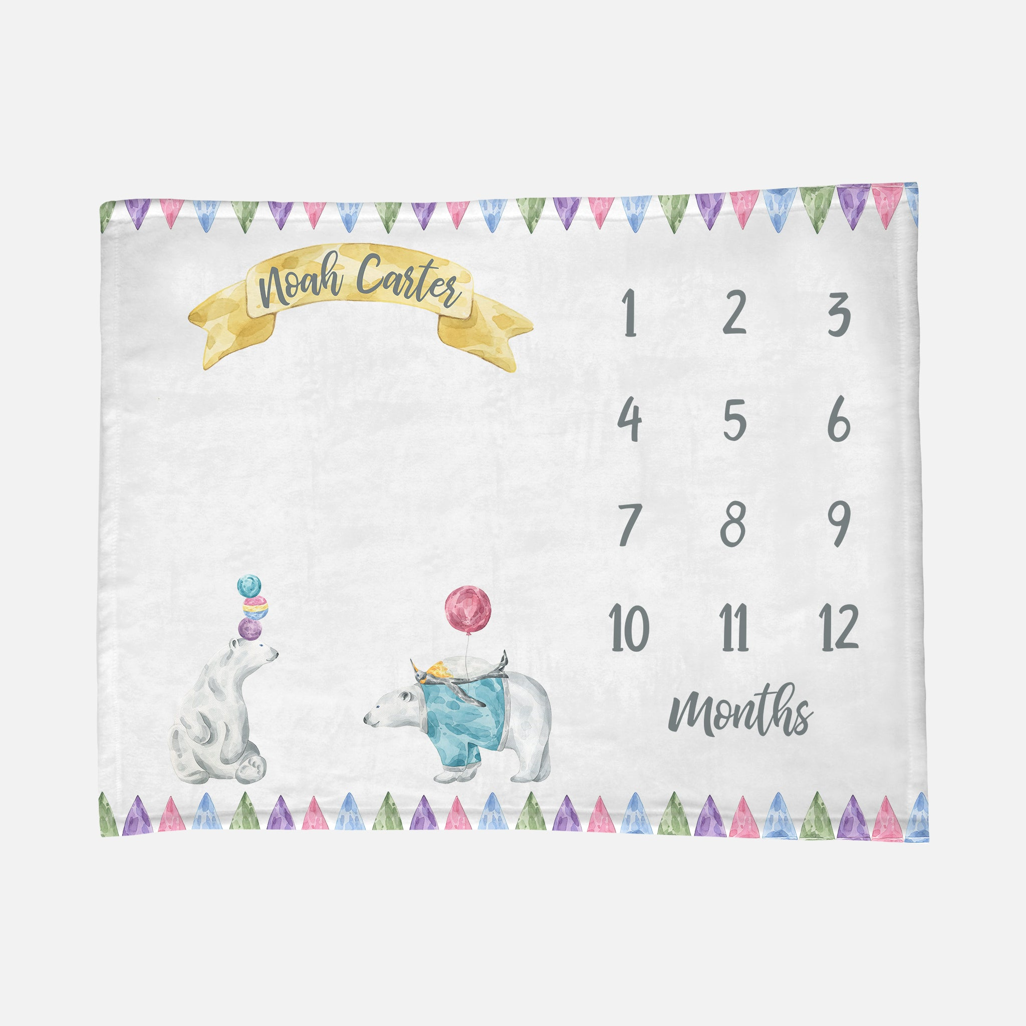 Baby Milestone Blanket Circus Friends Blanket Polar Bear Penguin Gender Neutral Blanket Unisex Baby Boy Blanket Baby Girl Blanket