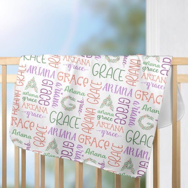 Personalized Baby Name Blanket Floral Monogram Baby Girl Blanket Newborn Blanket Swaddle Blanket Coming Hone Blanket