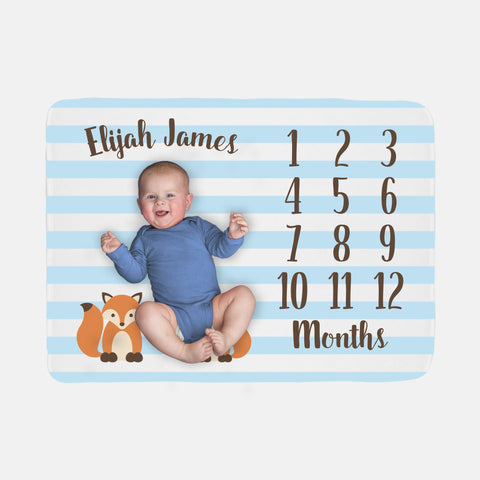 Baby Milestone Blanket | Blue Baby Boy Fox Theme