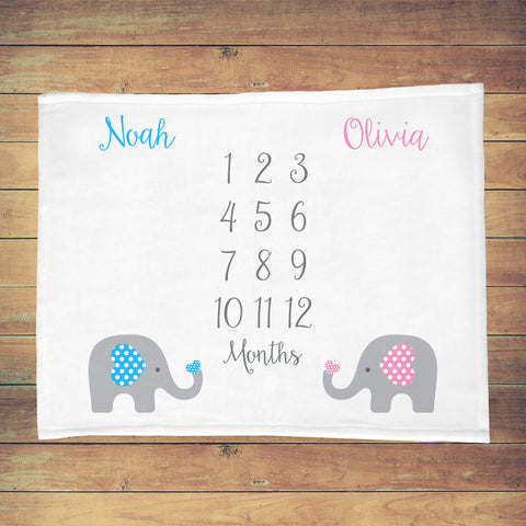 Twins Baby Milestone Blanket Elephant Theme Baby Month Blanket for Twins Cute Twin Girls Twin Boys Twin Boy and Girl Baby Milestone Blanket Baby Elephants