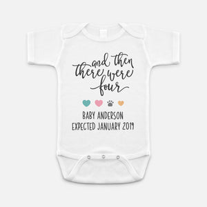 Pregnancy Announcement Onesie And Then There Were Four Dog Pregnancy Announcement Baby
