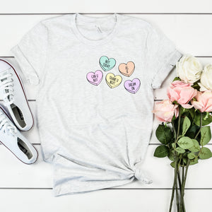 Conversation Hearts Shirt Anti Valentine's Day Shirt Cute Funny Valentine Shirt Anti Valentine's Day Shirt Singles Awareness Day Shirt Negative Conversation Candy Hearts