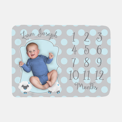 Baby Milestone Blanket | Blue Boy Little Lamb Theme