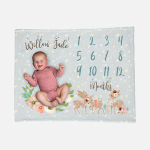 Baby Milestone Blanket Woodland Animals Baby Blanket Baby Deer Baby Bunny Rabbit Blanket Floral Baby Girl Growth Blanket