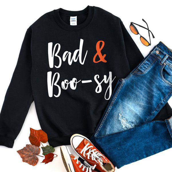 Bad and Boosy Halloween Sweatshirt Bad and Boujee Shirt Cute Funny Halloween Sweatshirt Halloween Sweater
