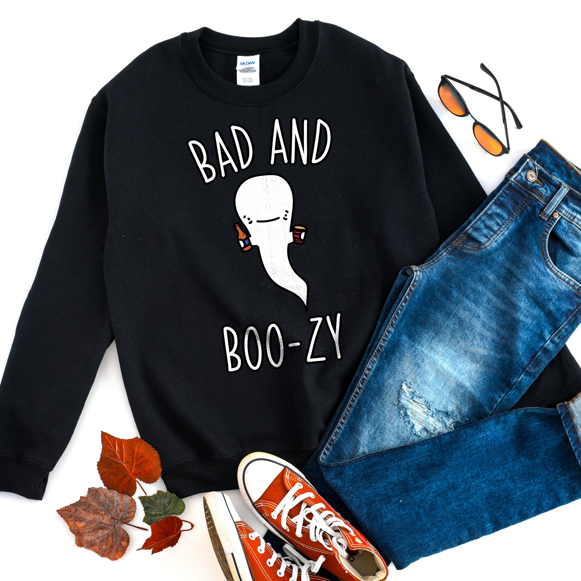 Bad and Boozy Halloween Sweatshirt Bad and Boujee Shirt Halloween Drinking Shirt Halloween Party Shirt Cute Funny Halloween Sweatshirt
