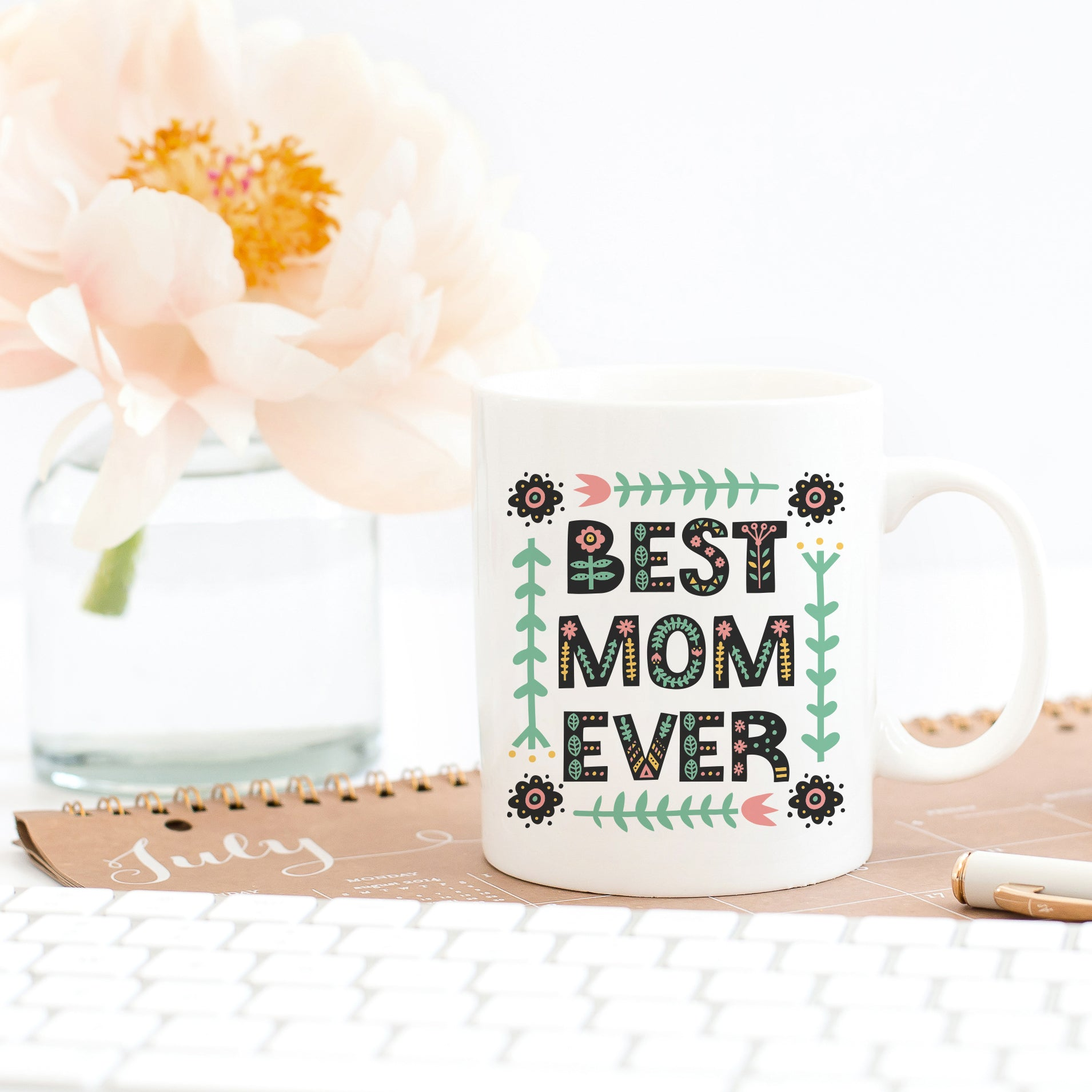 Best Mom Ever Floral Coffee Mug Cute Gift for Mom Mother's Day Gift Scandinavian Style Print Cute Coffee Mug for Mom