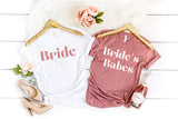 Bachelorette Party Shirts Bride Shirt Bride's Babes Shirts Matching Bridal Party Shirts Bridesmaid Shirts