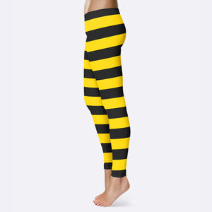 Bumble Bee Leggings Bumble Bee Halloween Costume Halloween Leggings Black Yellow Stripe Leggings