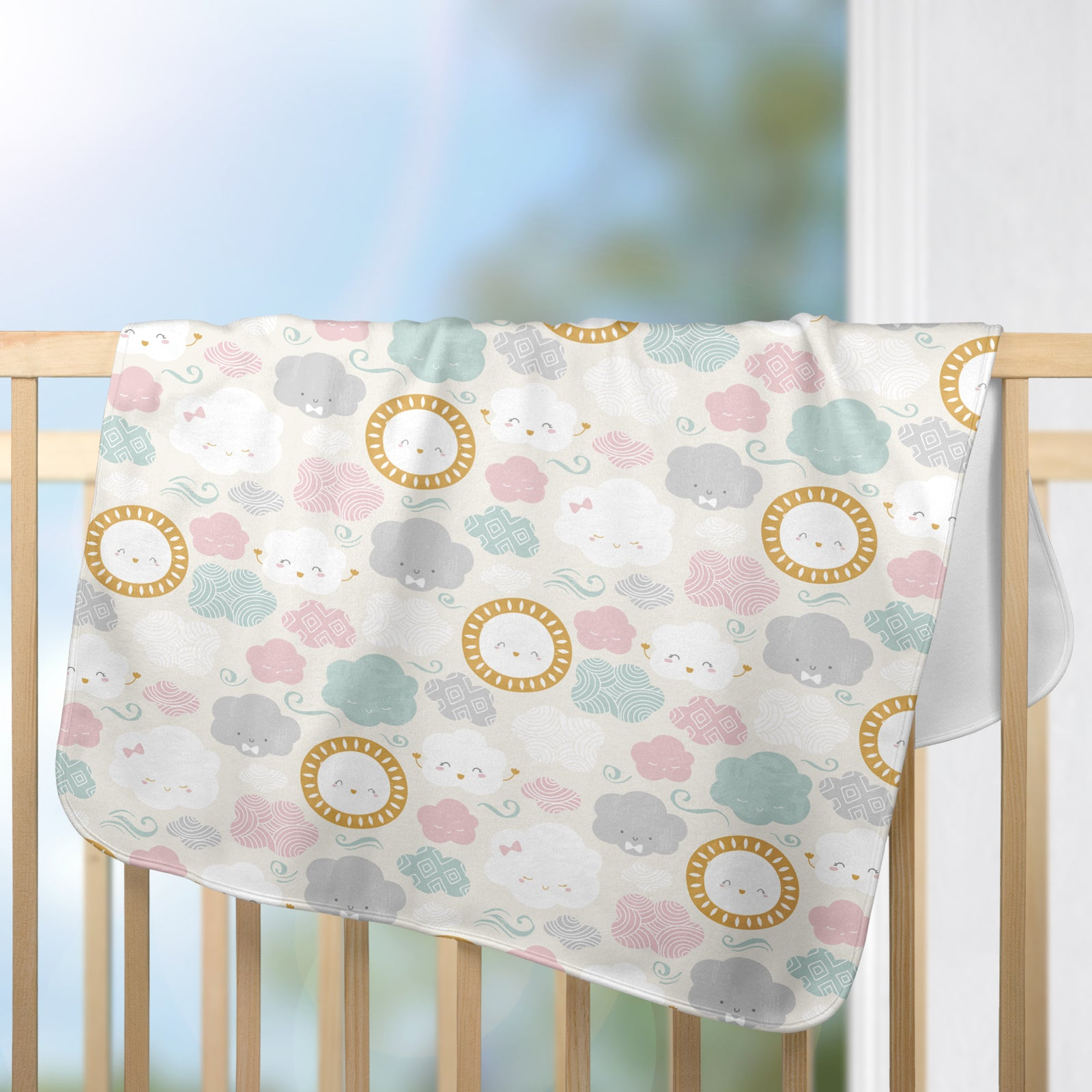Cute Clouds Theme Baby Blanket Clouds Nursery Blanket Cute Gender Neutral Baby Blanket Scandinavian Style Nursery Baby Girl Blanket Baby Boy Blanket Unisex Blanket Sun and Clouds Blanket