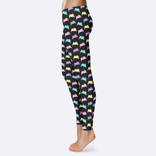 Easter Bunny Leggings for Women Cute Easter Leggings Colorful Easter Bunnies Easter Yoga Pants Leggings Capris Shorts