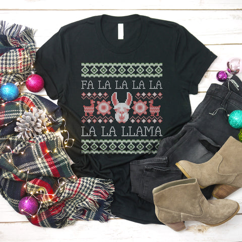 Fa La La Llama Shirt Ugly Christmas Sweater Shirt Funny Llama Christmas T-Shirt