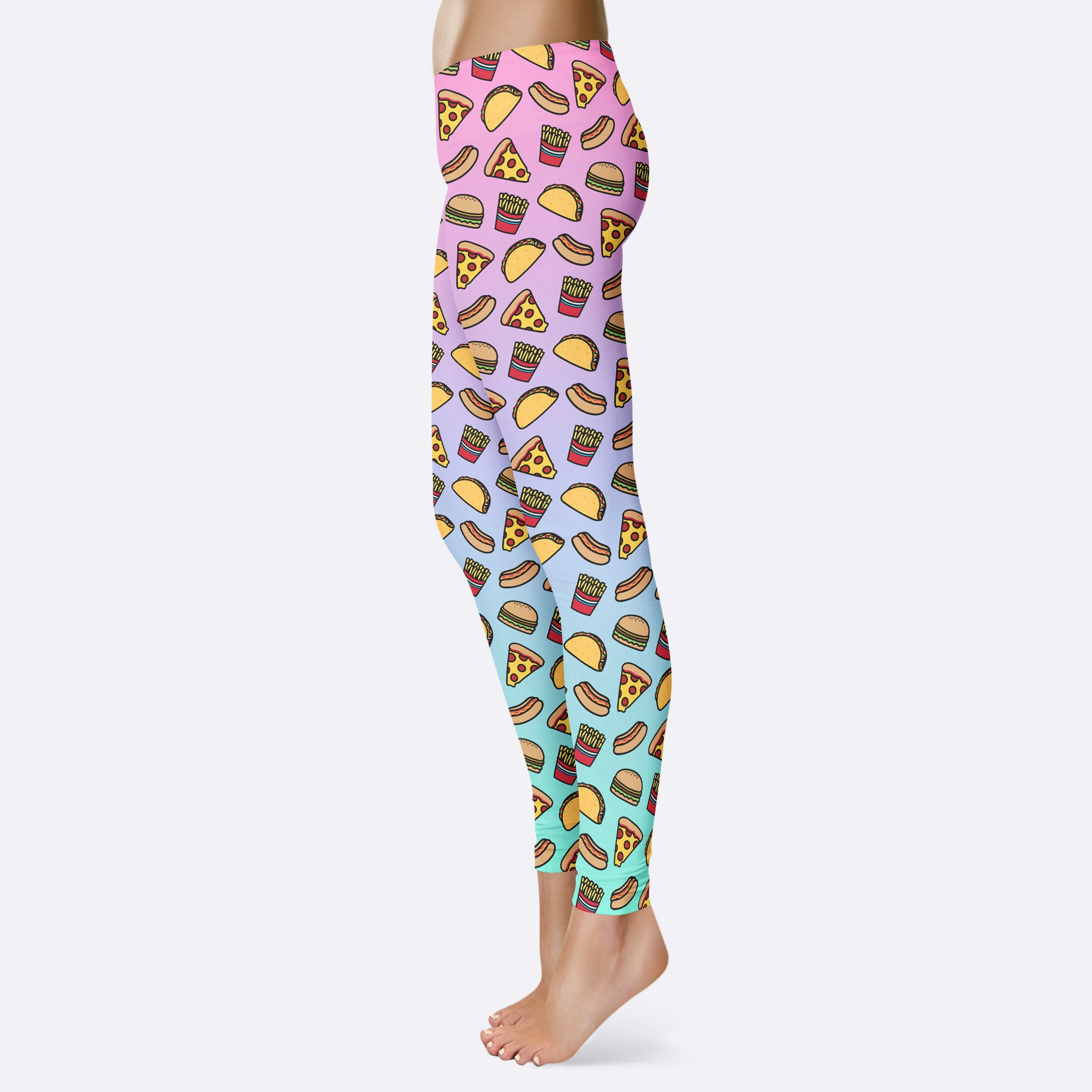 Fast Food Leggings Cute Foodie Leggings Cheeseburger Taco French Fries Pizza Hot Dog Leggings Foodie Gift