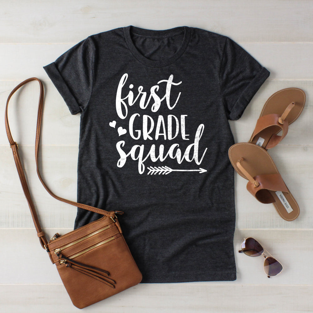 First Grade Squad Teacher Shirt-Shirts-Printful-Dark Grey Heather-S-AlluringPrints-Teacher Team Shirts Grade Level Shirts Matching Teacher Shirts Team First Grade 1st Grade Shirts