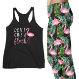 Don't Give a Flock Tank Top Leggings Set Tropical Beach Flamingo Leggings Vacation Outfit