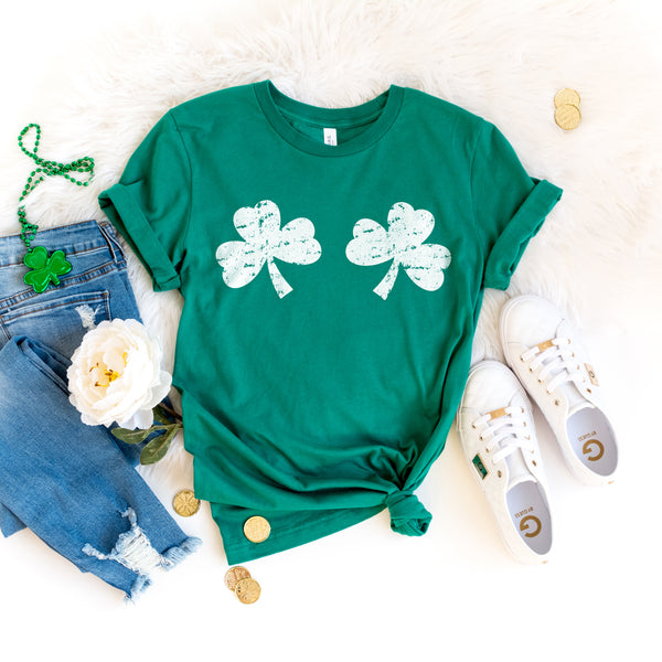 St. Patrick's Day Shirt Funny Shamrocks Shirt for Women Cute Shamrock Boobs Shirt St. Paddy's Day Shirt