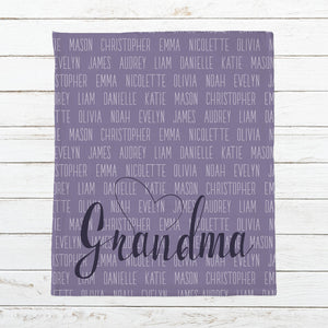 Personalized Grandma Blanket Personalized Names Nana Blanket MawMaw Blanket Mimi Blanket Mother's Day Gift for Grandma Grandmother Gift