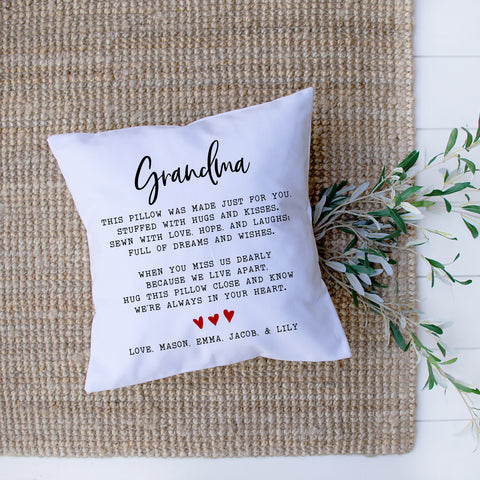 Personalized Grandma Pillow Mother's Day Gift for Grandma from Grandkids Personalized Grandchildren's Names Gift for Grandma Grandmother Gift