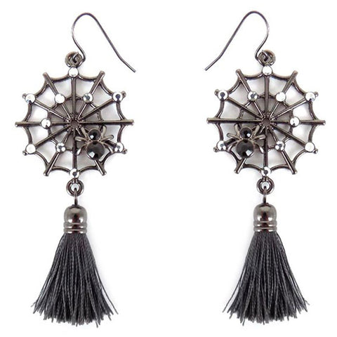 Crystal Spiderweb Halloween Earrings - Spider Earrings - Halloween Earrings - Gray Tassel Crystal Spider Earrings