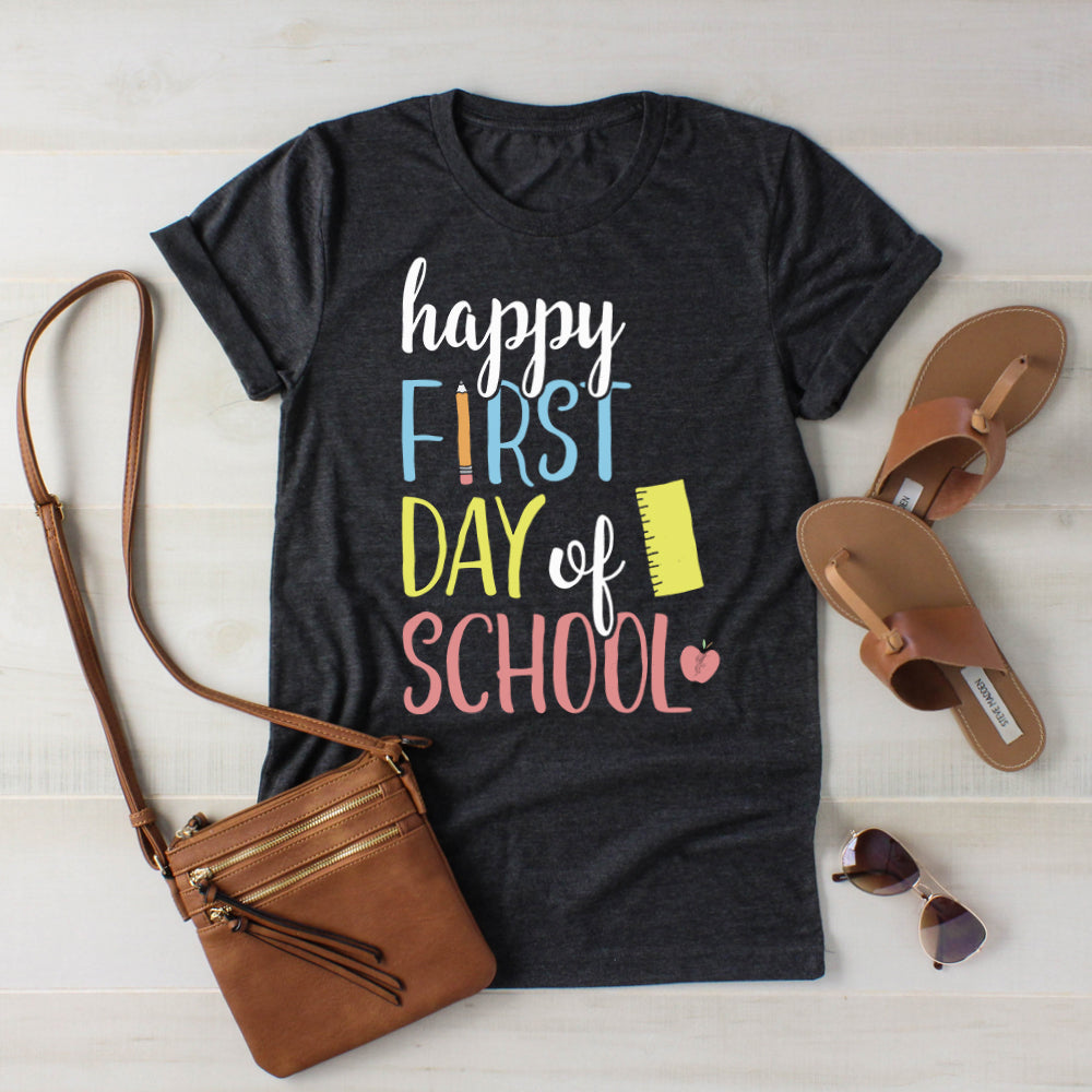 Happy First Day of School Shirt Back to School Shirt Teacher Shirt Student Shirt 1st Day of School Photo