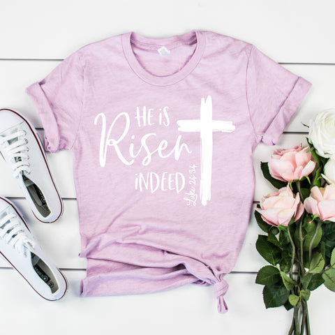 He is Risen Easter Shirt He is Risen Luke 24:34 Shirt for Women Christian Easter Shirt Catholic Easter Shirt Cute Easter Shirt for Women Bible Verse Shirt