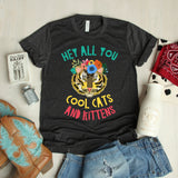 Hey All You Cool Cats and Kittens Shirt - Tiger with Floral Crown Shirt - Big Cats Shirt - Funny Cat Shirt - Cat Lover Shirt