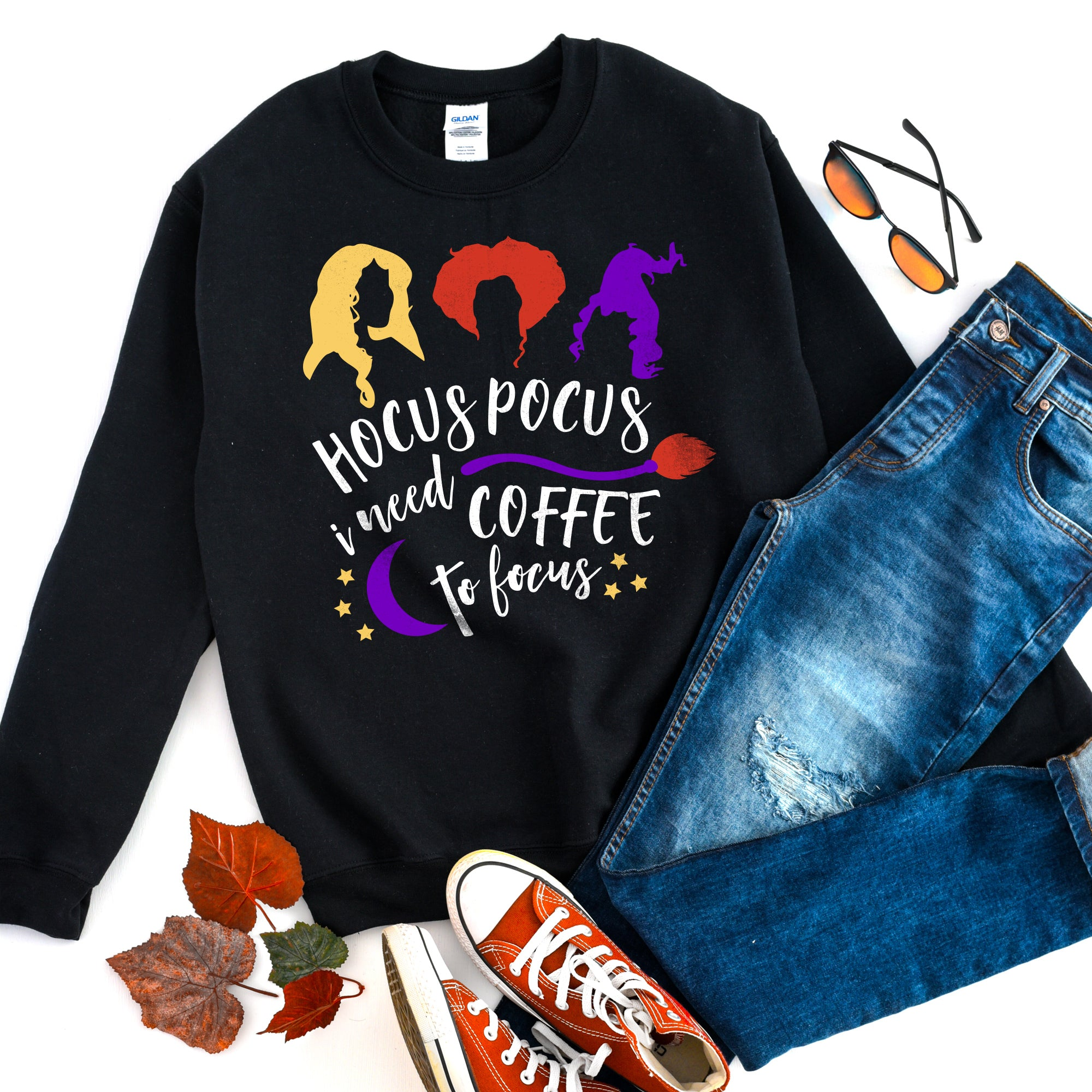 Hocus Pocus I Need Coffee to Focus Sweatshirt Halloween Sweatshirt Hocus Pocus Sweatshirt Cute Funny Halloween Shirt