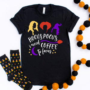 Hocus Pocus I Need Coffee to Focus Shirt Halloween Shirt Hocus Pocus Shirt Cute Funny Halloween Shirt
