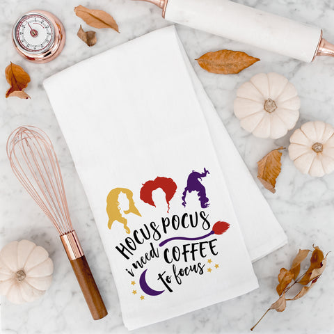 Hocus Pocus I Need Coffee to Focus Halloween Kitchen Towel Halloween Decor Cute Funny Halloween Kitchen Decorations