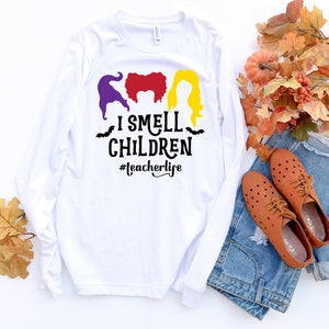 I Smell Children Teacher Halloween Shirt Cute Funny Halloween Shirt for Teachers Hocus Pocus Halloween Teacher Shirt