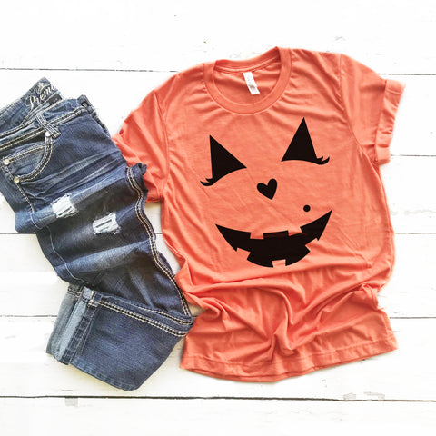 Jack O Lantern Shirt Women Cute Halloween Shirt Beauty Jack O Lantern Jackie O Lantern Jack O Lantern with Eyelashes Halloween Costume Shirt Girl Jack O Lantern