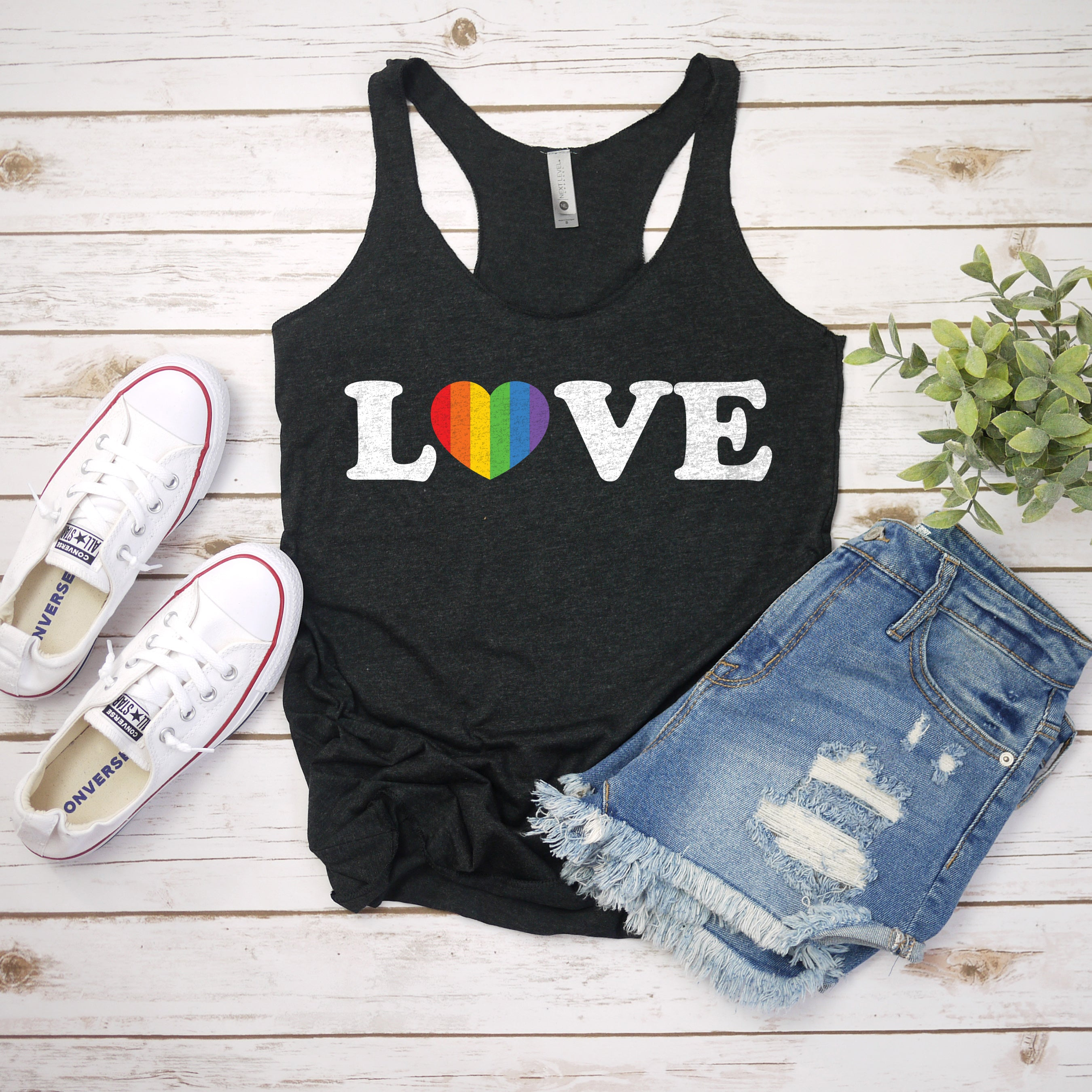 Love Rainbow Heart Pride Tank Top Pride Shirts for Women Cute Pride Outfit Gay Pride LGBT LGBTQ Shirts for Pride Parade