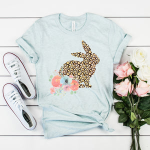 Leopard Floral Easter Bunny Shirt Cute Easter Shirt for Women Leopard Print Shirt Cheetah Print Shirt Easter Bunny Shirt
